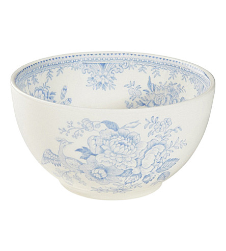 BURLEIGH Asiatic Pheasants footed ceramic bowl 16cm (Blue