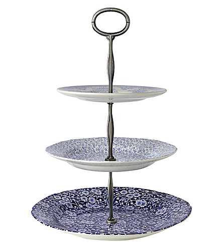 BURLEIGH Asiatic pheasant ceramic 3 tier cake stand (Blue