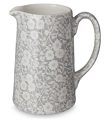 BURLEIGH Calico dove grey ceramic tankard jug 568ml