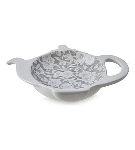 BURLEIGH Calico dove grey ceramic mini teapot tray