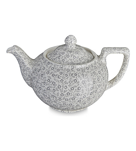 BURLEIGH Felicity dove grey ceramic teapot 400ml
