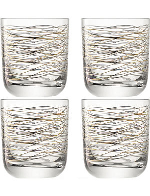 LSA Cocoon set of 4 glass tumblers with metallic detail