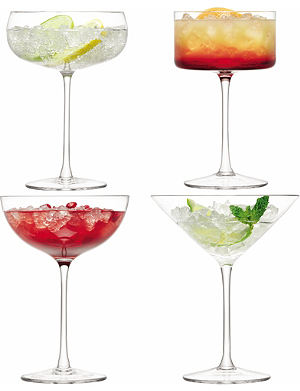 LSA Set of four assorted Lulu cocktail glasses