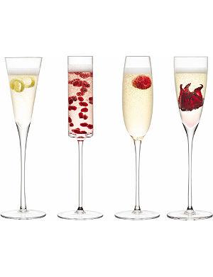 LSA Set of four assorted Lulu champagne glasses