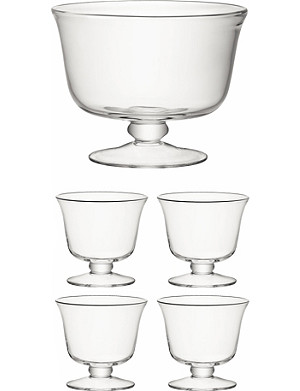 LSA Serve 5 piece glass dessert set