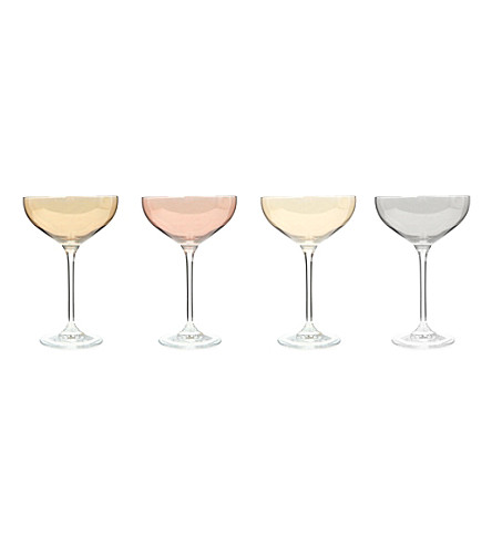 LSA Polka metallic-lustre champagne saucers set of four