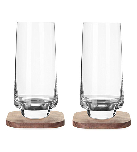 LSA Set of two city bar long drink glasses and coasters