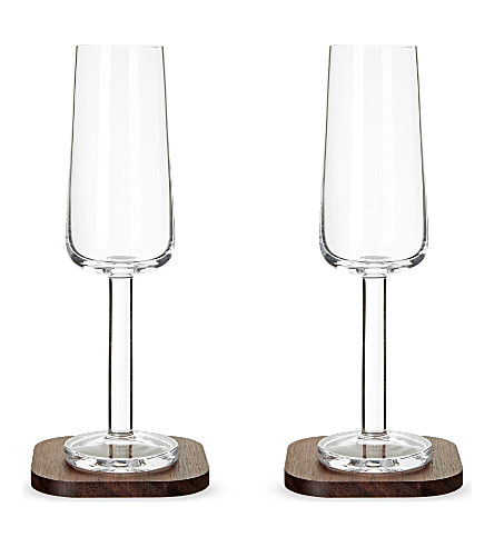 LSA Set of two city bar champagne flutes and coasters