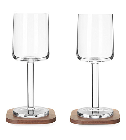 LSA Set of two city bar white wine glasses and coasters