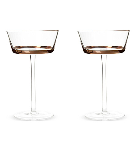 LSA Edge set of two champagne saucers