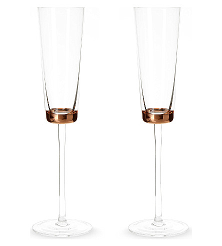LSA Edge set of two champagne flutes