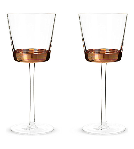 LSA Edge set of two red wine glasses