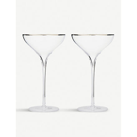 LSA Savoy Platinum pair of champagne saucers