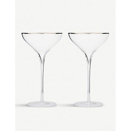 LSA Savoy Platinum pair of champagne saucers