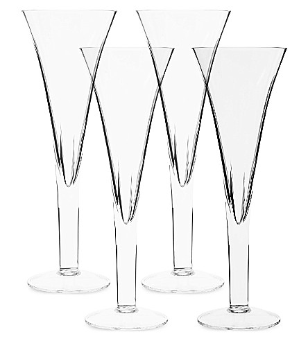 LSA Set of four Charleston champagne flutes