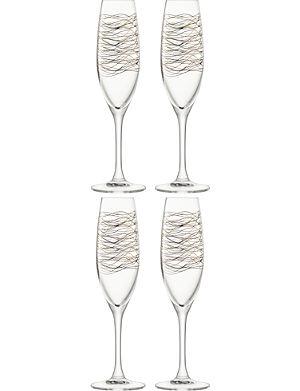 LSA Set of 4 cocoon champagne flutes