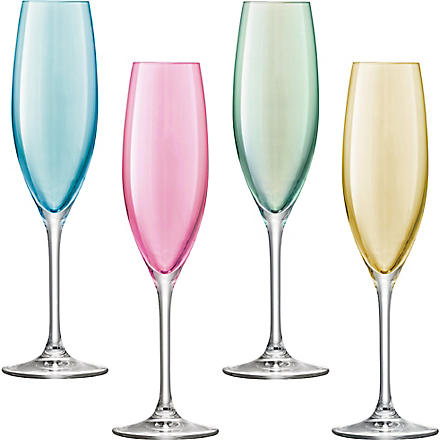 LSA Set of four Polka champagne flutes