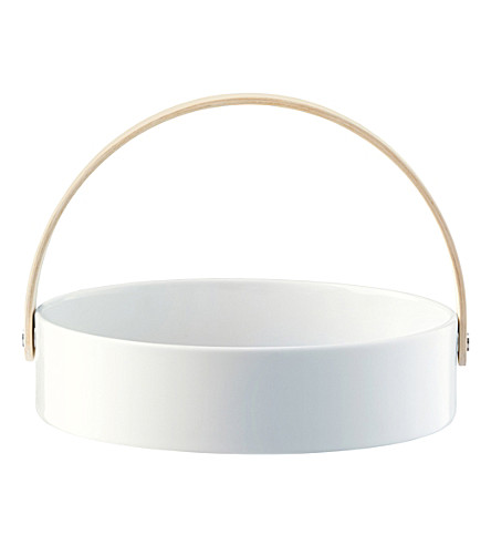LSA Circle porcelain bowl with ash wood handle 22cm