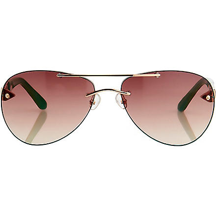LINDA FARROW Matthew Williamson painted aviator-style sunglasses (Gold & jade