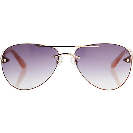 LINDA FARROW Matthew Williamson painted aviator-style sunglasses (Gold+&+tangerine