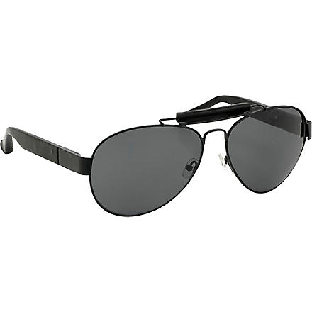 LINDA FARROW The Row leather round-frame sunglasses (Black