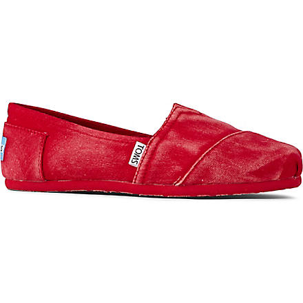 TOMS Classic stonewashed flat shoes (Red