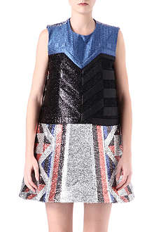SADIE WILLIAMS Embossed lurex shift dress