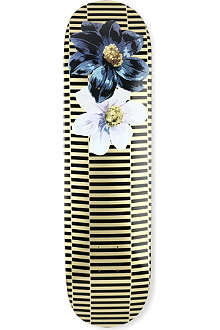 DRIES VAN NOTEN Stripe and floral-print skateboard deck