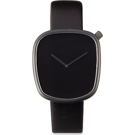 DEZEEN WATCH STORE All-black leather watch (Black/black