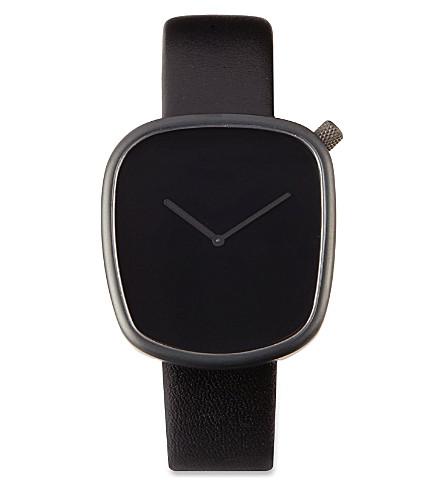 DEZEEN WATCH STORE All-black leather watch (Black/black