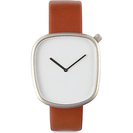 DEZEEN WATCH STORE White and brown leather watch (White/brown