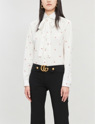 Pussy-bow cherry-print cotton shirt
