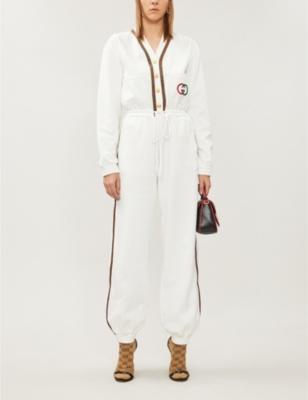 V-neck drawstring waistband woven jumpsuit