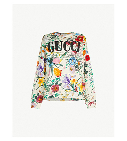 GUCCI Floral-print cotton-jersey sweatshirt (Ivory multi