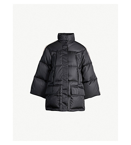 GUCCI Side-stripe shell-down hooded puffer jacket (Black