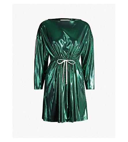 GUCCI Logo-tape metallic mini dress (Iridescent shamrock
