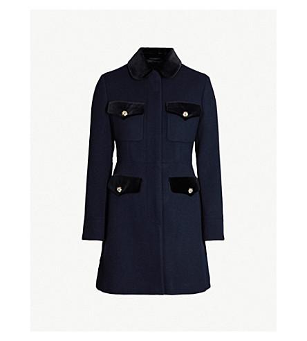 GUCCI Velvet-trimmed wool-blend coat (Ink mc
