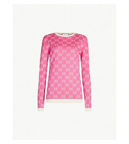 GUCCI Logo-intarsia cotton-knit sweater (Pink ivory
