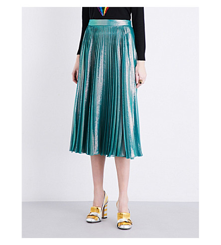 GUCCI Metallic pleated midi skirt (Peppermint green