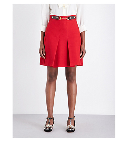 GUCCI Pleated high-rise silk and wool-blend skirt (Hibiscus+red/brown