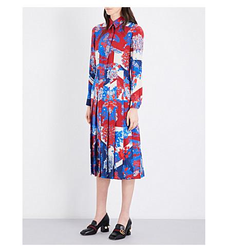 GUCCI Floral-print pleated silk-crepe shirt dress (Bluette/ivoire prtd