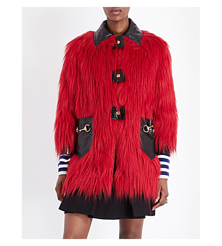 GUCCI Leather-detail faux-fur coat (Hibiscus red/black
