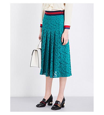 GUCCI Pleated floral-lace midi skirt (Shady glade/b/r/b