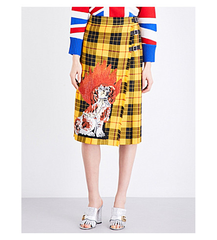 GUCCI Embellished tartan-wool skirt (Yellow/red