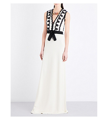 GUCCI Bow-detail stretch-jersey gown (Ivory/black