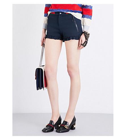GUCCI Ruffle-trim twill shorts (Nuit/v/r/v