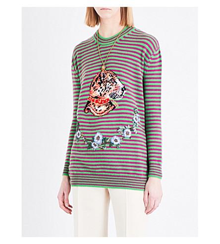 GUCCI Leopard jacquard-print wool jumper (Vibrant green/mora/multi
