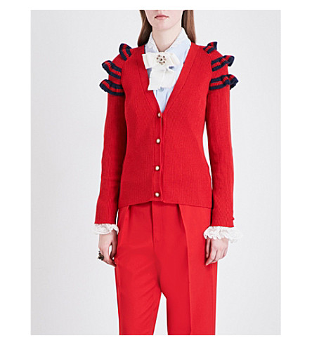 GUCCI Ruffled-shoulders wool, silk and cashmere-blend cardigan (Strewberry/blue/red