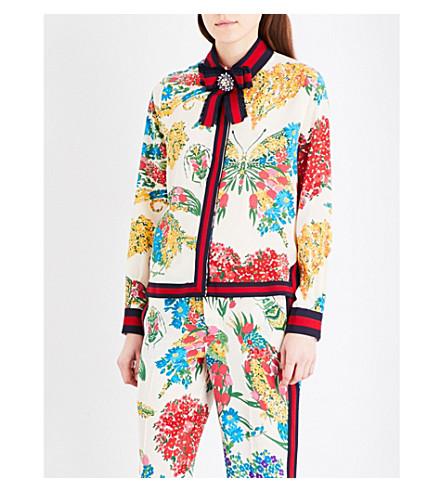 GUCCI Ribbon-detail floral-print silk shirt (Ivory prtd/b/r/b