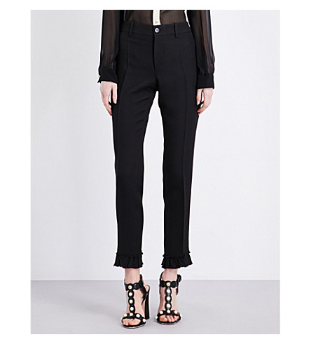 GUCCI Frilled-hem silk and wool-blend trousers (Black